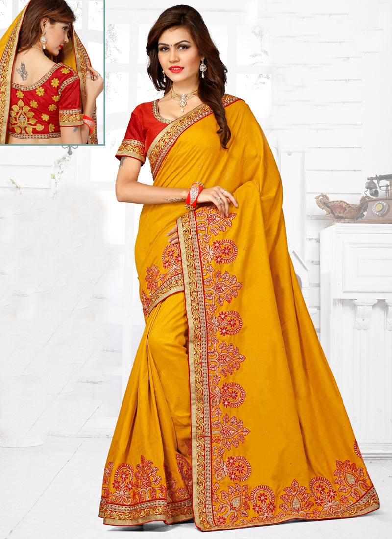 Remarkable Mustard Color Stone Work Designer Saree