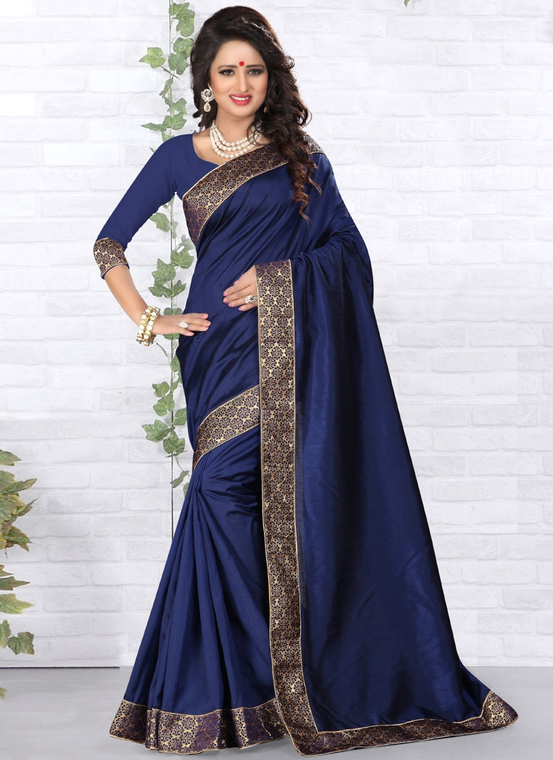 Remarkable Navy Blue Color Art Silk Casual Saree