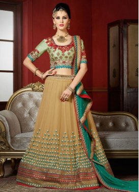 Remarkable  Pure Georgette Embroidered Work Aloe Veera Green and Beige Trendy Designer Lehenga Choli