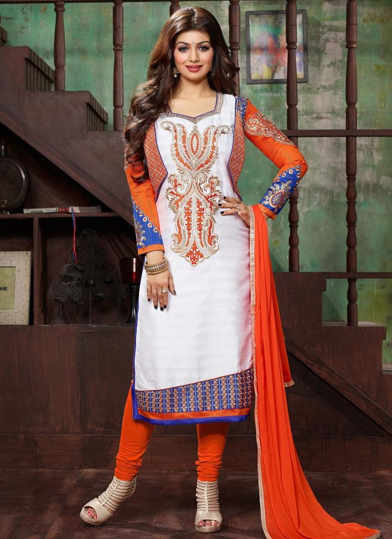 Remarkable Resham Work Ayesha Takia Churidar Salwar Kameez