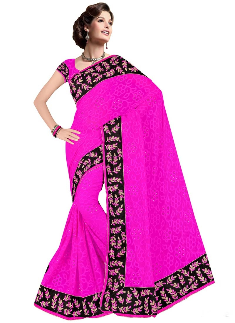 Remarkable Rose Pink Color Lace Work Party Wear Saree