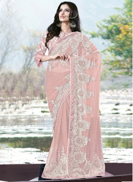 Remarkable Salmon Beads Work Contemporary Saree