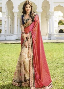 Remarkable Stone And Resham Work Half N Half Wedding Saree