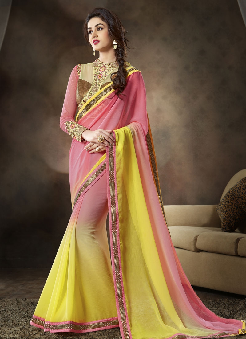 Remarkable Yellow Color Beads Work Party Wear Saree