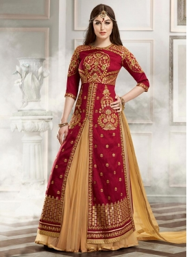 Renowned  Banglori Silk Booti Work Kameez Style Lehenga