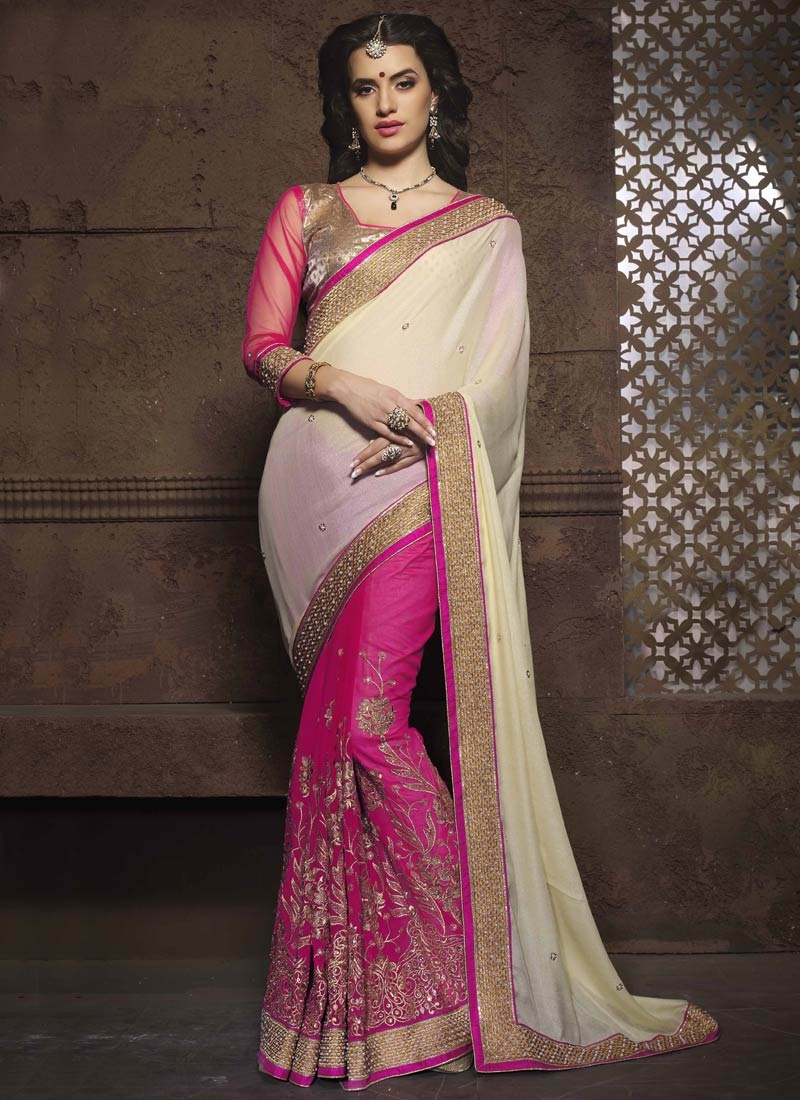 Renowned Beads And Embroidery Work Half N Half Wedding Saree