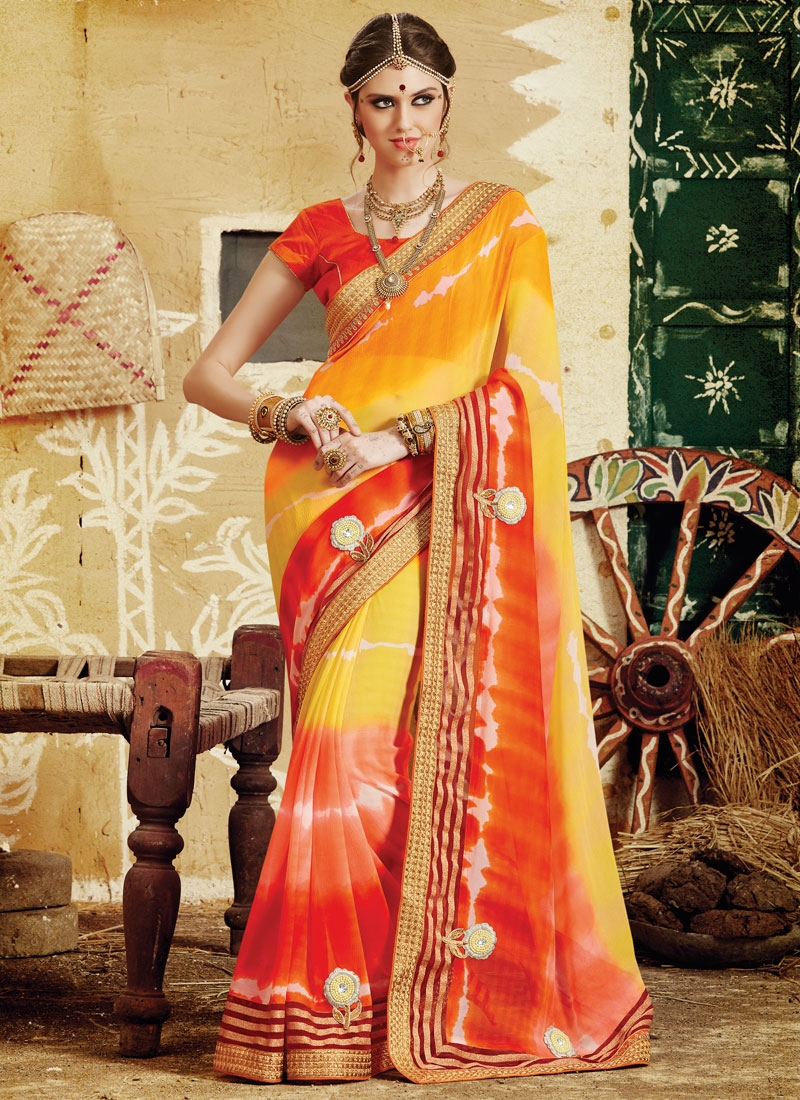 Renowned Beads Work Yellow Color Party Wear Saree