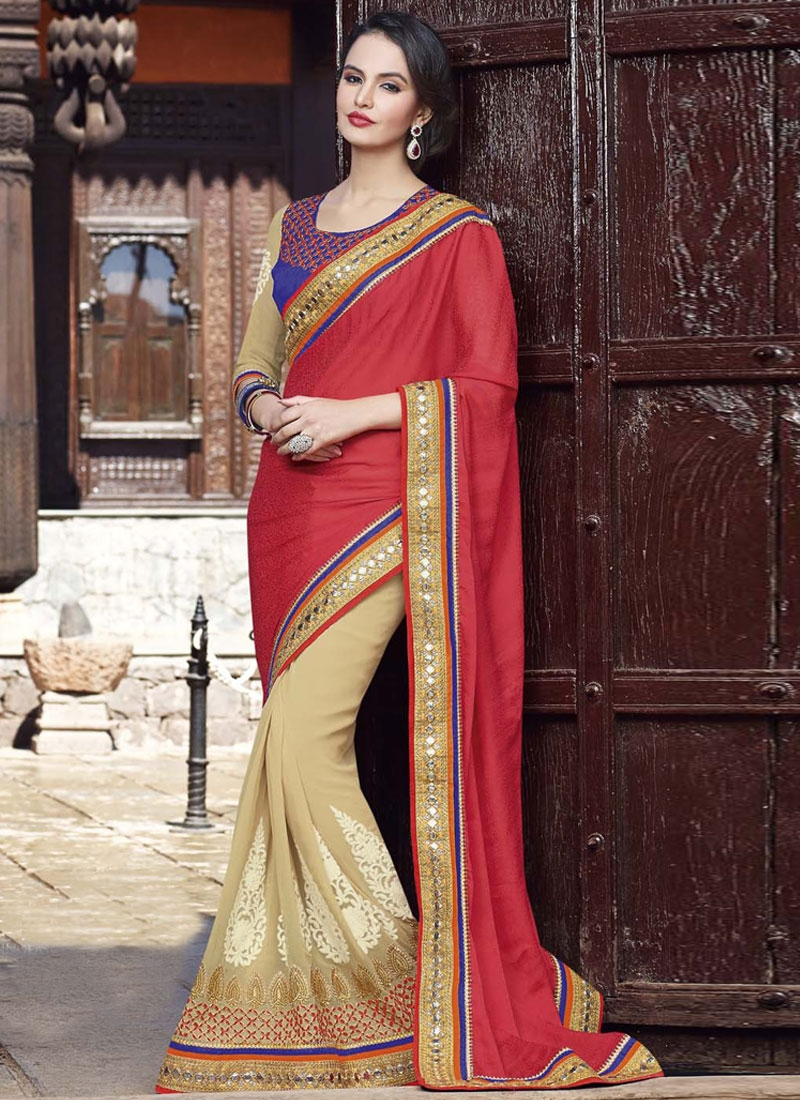 Renowned Beige Color Lace Work Wedding Saree