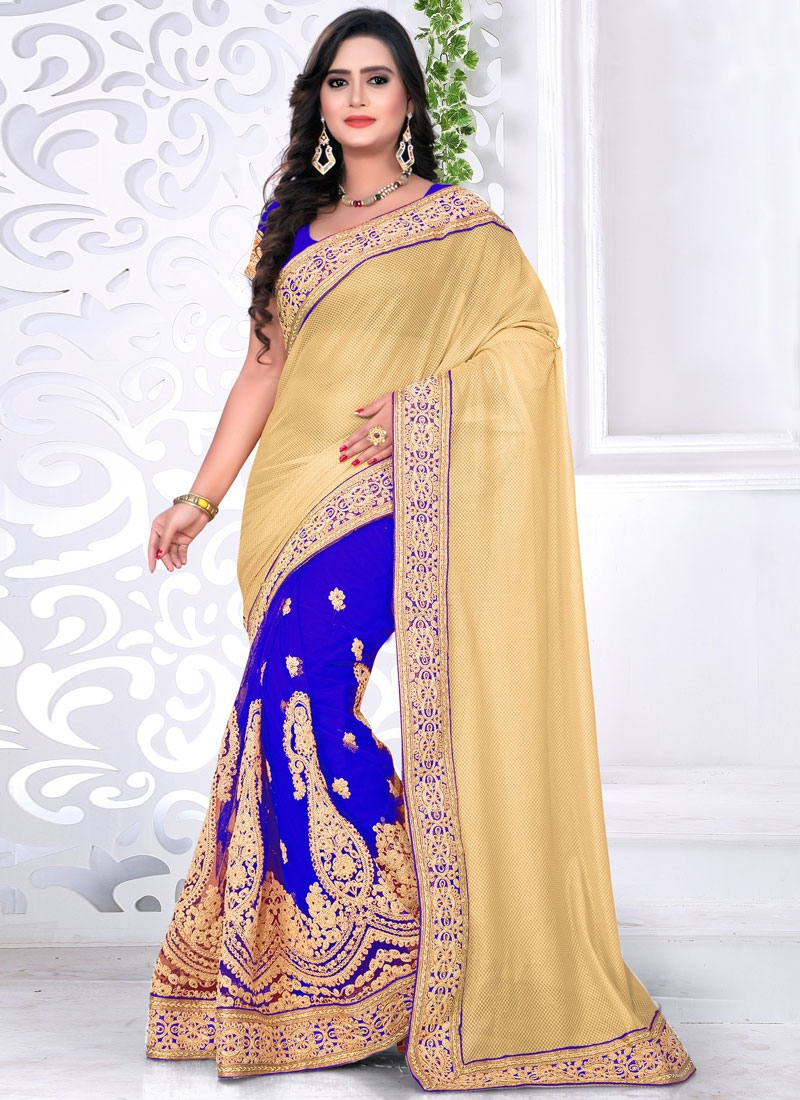 Renowned Blue Color Booti Work Half N Half Designer Saree