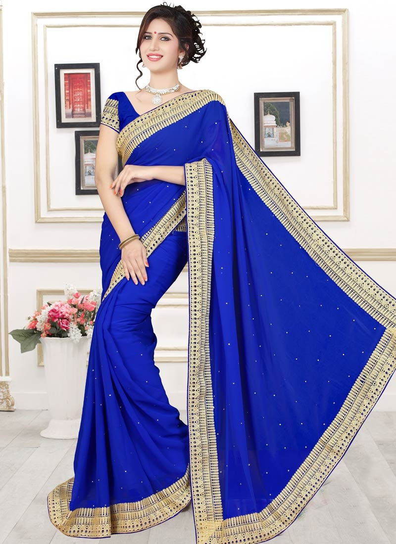 Renowned Blue Color Faux Georgette Casual Saree