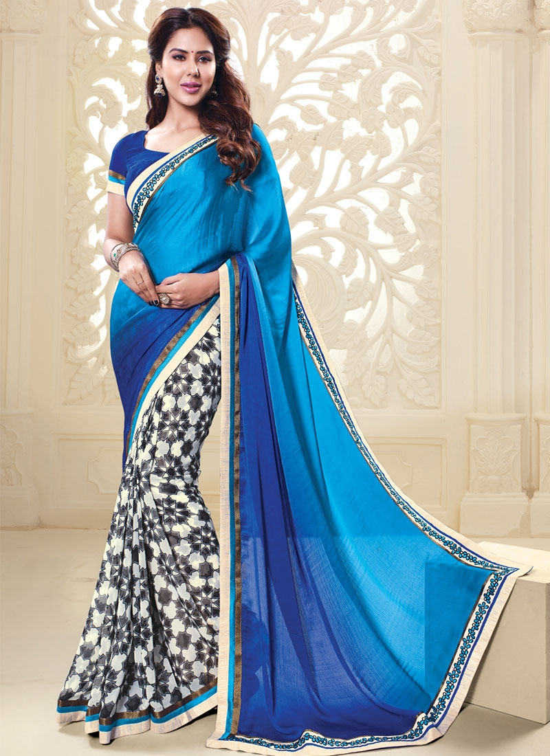 Renowned Blue Color Faux Georgette Half N Half Casual Saree