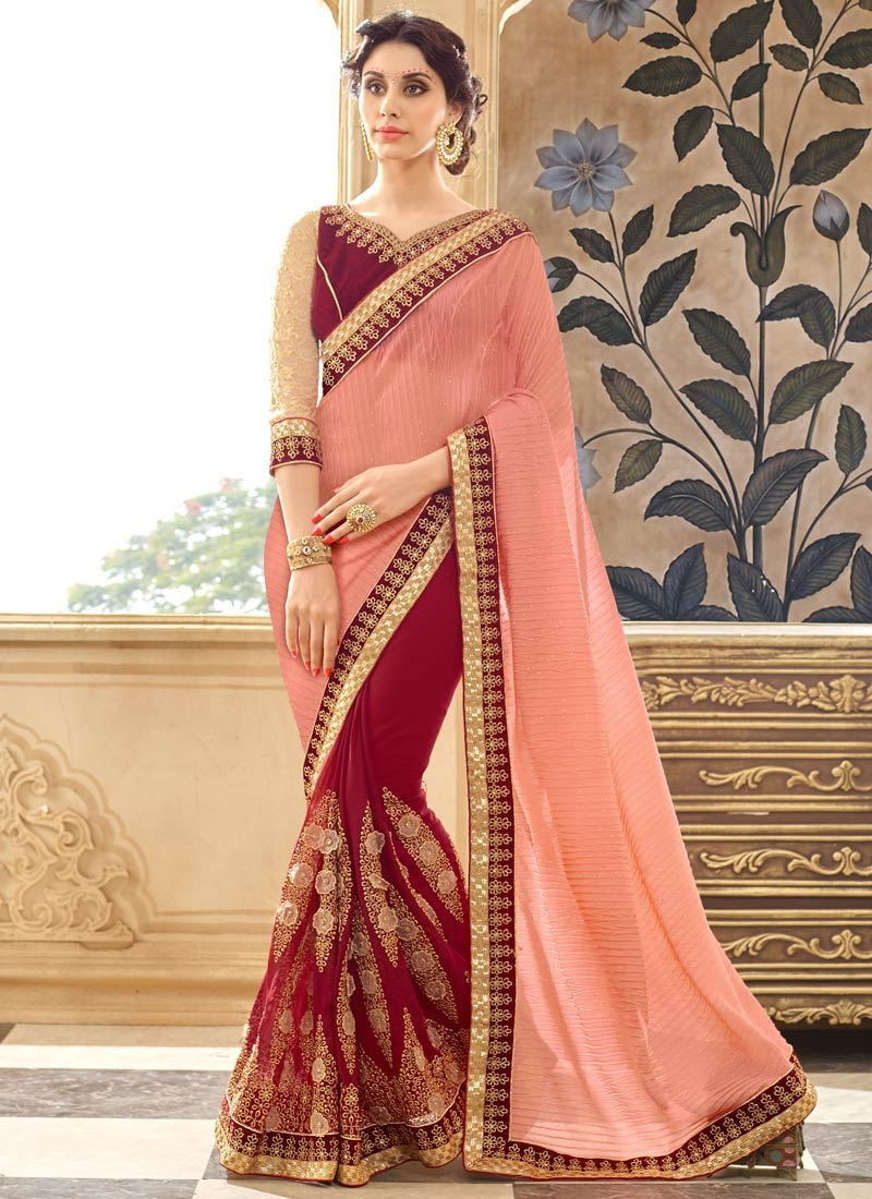 Renowned Booti Work Crimson Color Half N Half Designer Saree