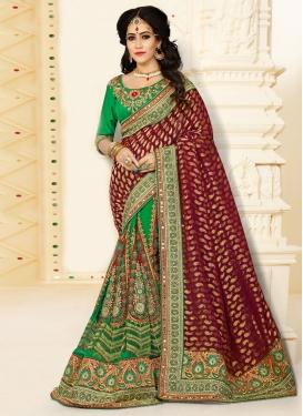 Renowned Booti Work Half N Half Designer Saree For Bridal