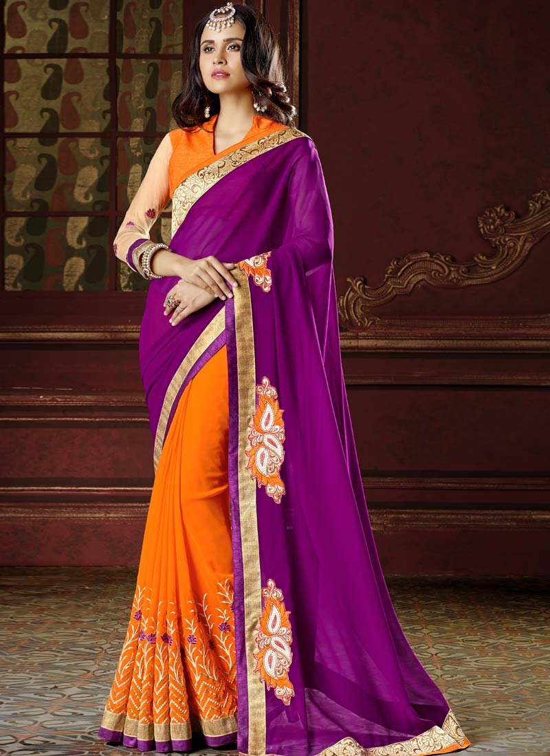 Renowned Booti Work Half N Half Party Wear Saree