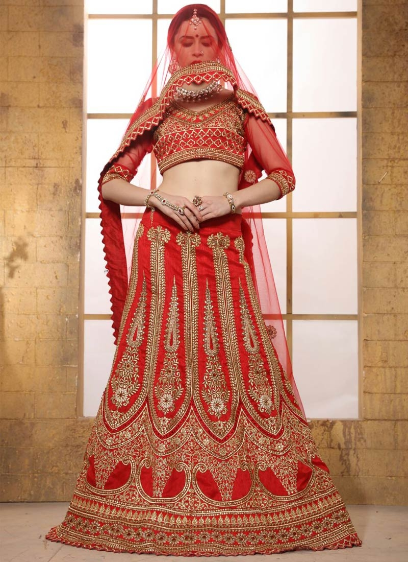 Renowned Booti Work Red Color Bridal Lehenga Choli