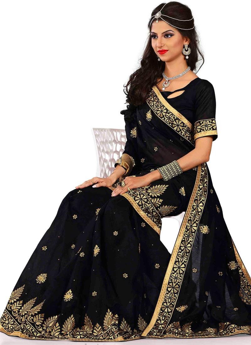 Renowned Chanderi Silk Lace Work Party Wear Saree