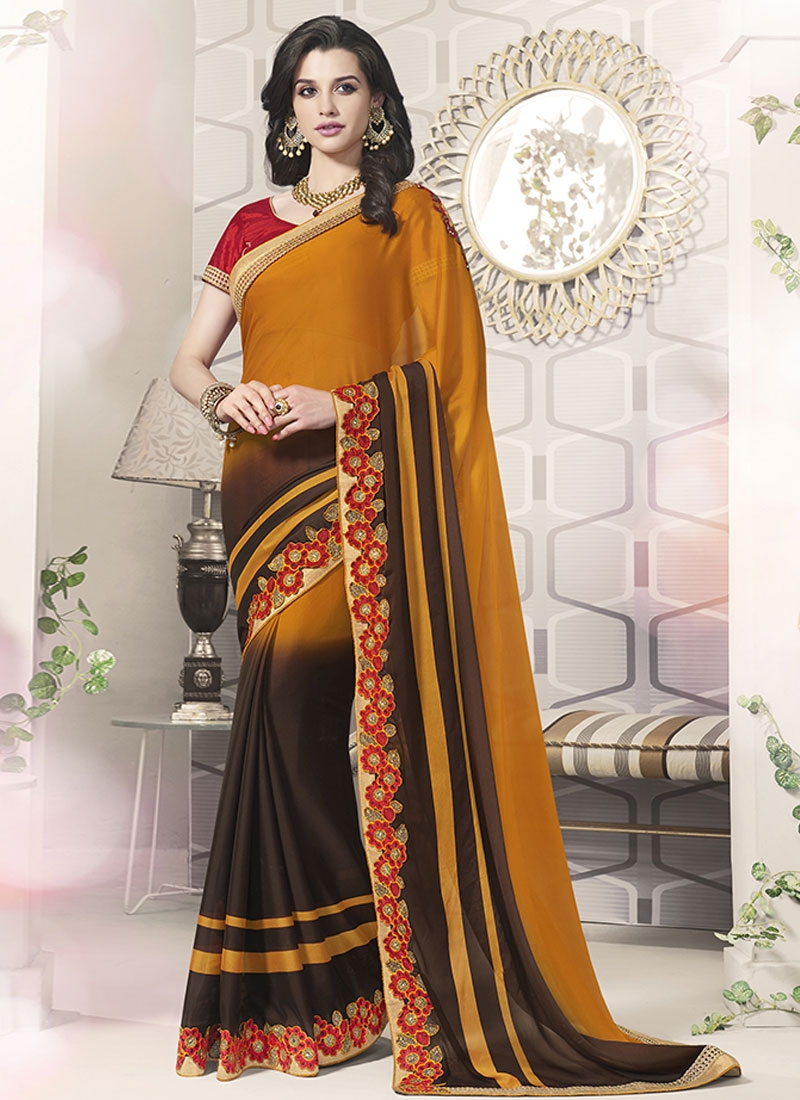 Renowned Coffee Brown And Mustard Color Party Wear Saree