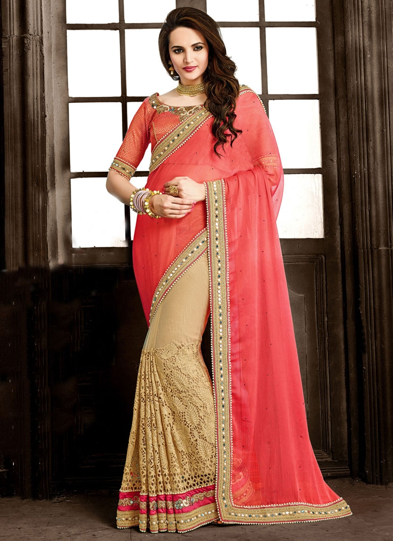 Renowned Cut Work Half N Half Wedding Saree