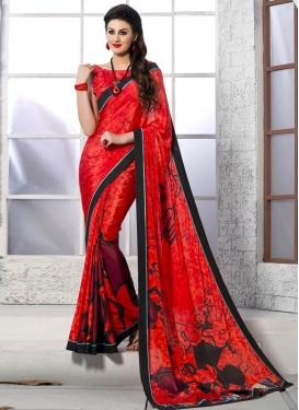 Renowned Digital Print Work Red Color Casual Saree