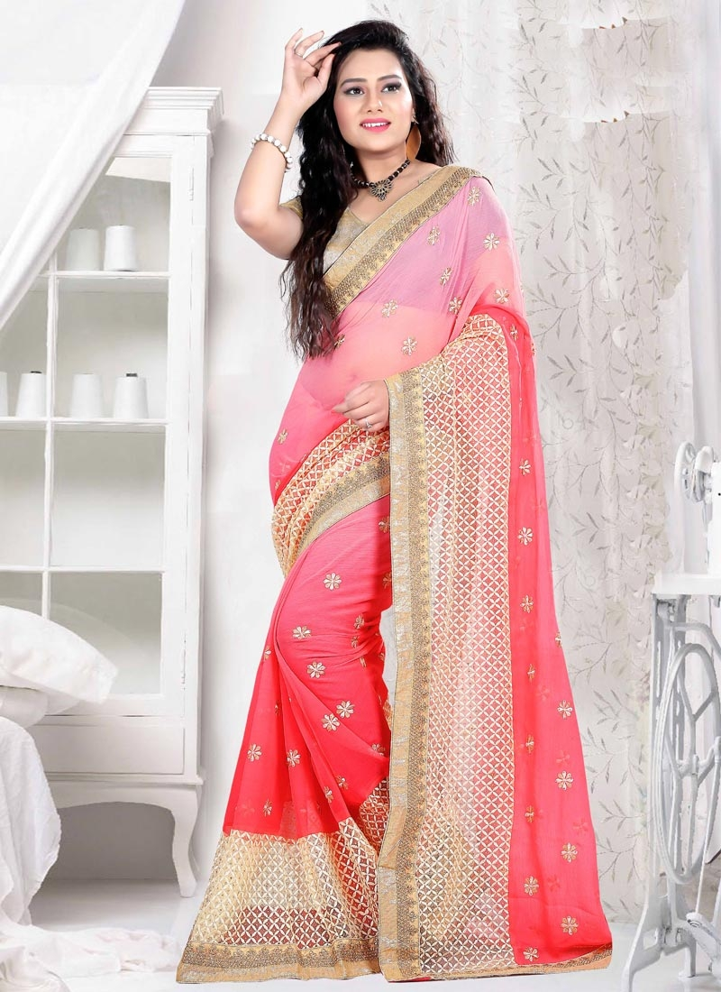 Renowned Embroidery And Stone Work Party Wear Saree