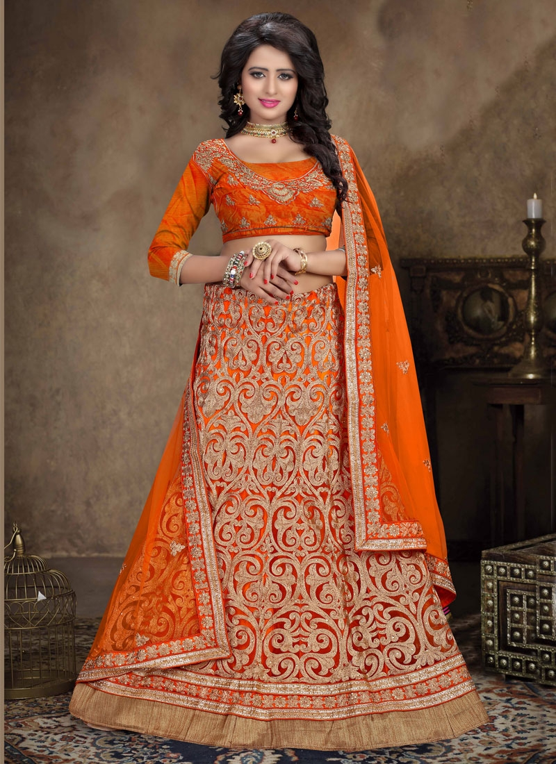 Renowned Embroidery Work Orange Color Bridal Lehenga Choli
