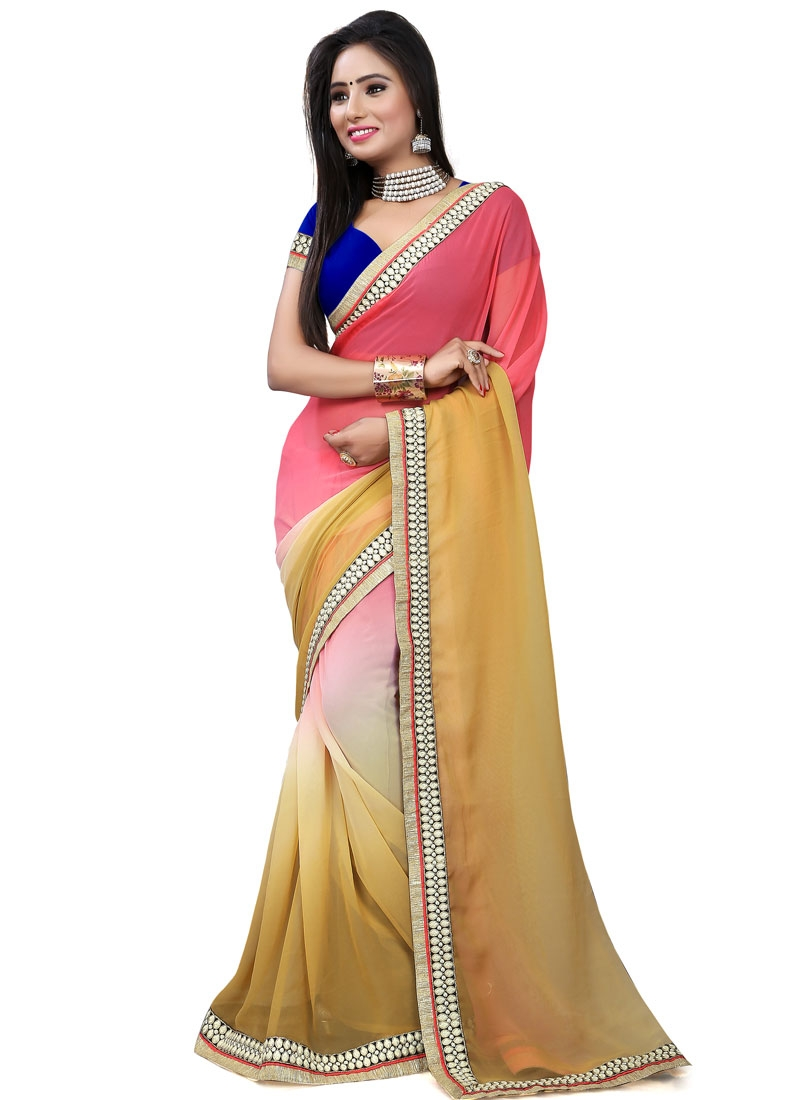 Renowned Faux Georgette Lace And Resham Work Party Wear Saree