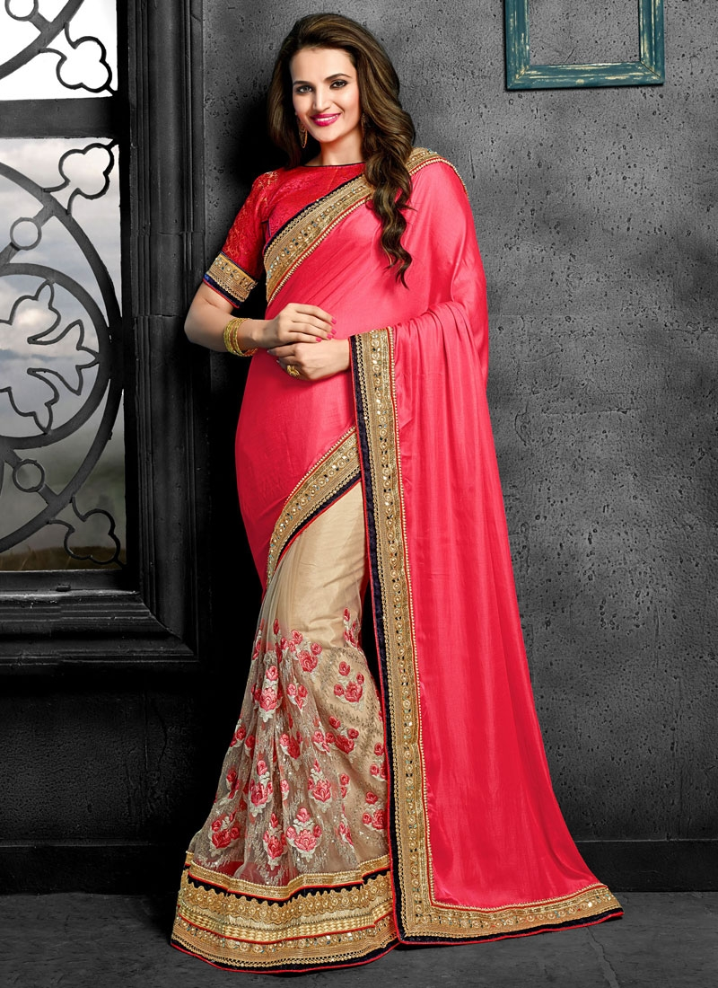 Renowned Floral And Mirror Work Half N Half Wedding Saree
