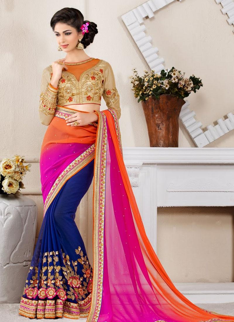 Renowned Floral Work Half N Half Wedding Saree