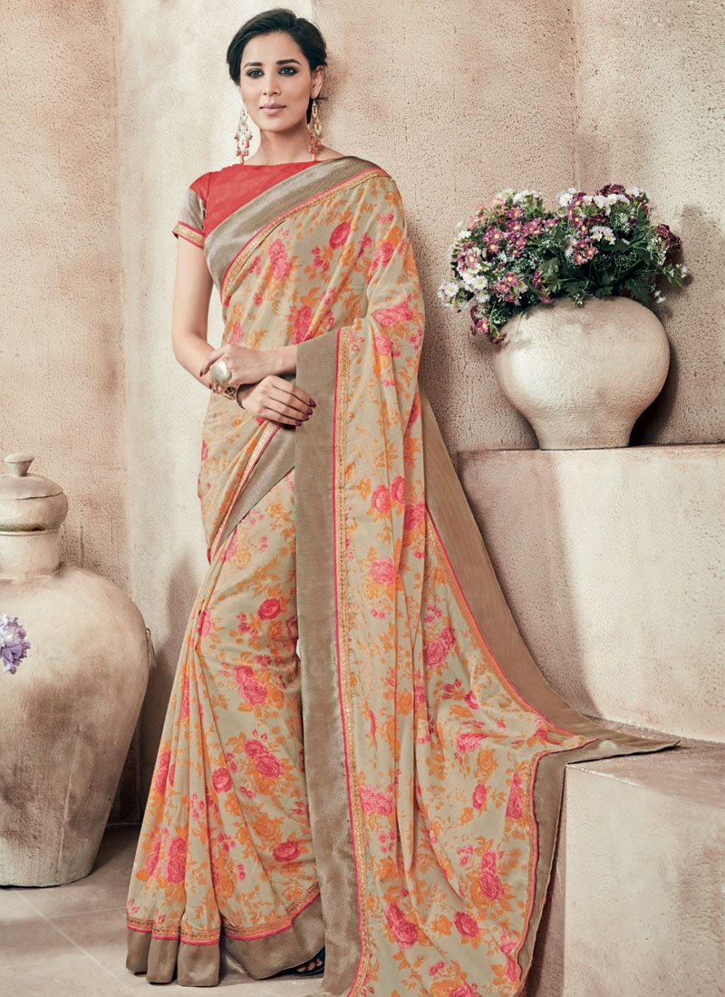 Renowned Lace Work Beige Color Party Wear Saree