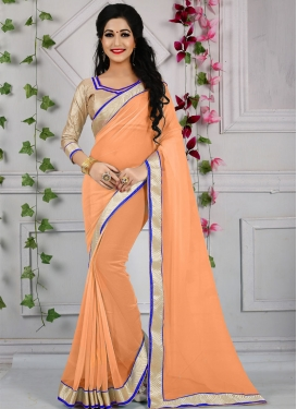 Renowned Lace Work Faux Georgette Casual Saree