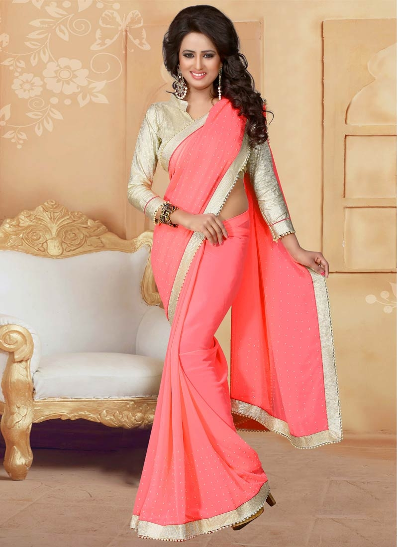 Renowned Lace Work Salmon Color Party Wear Saree