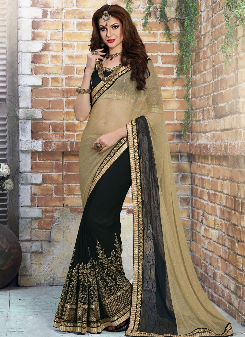 Renowned Lycra And Net Half N Half Designer Saree
