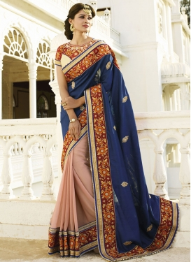 Renowned Navy Blue Color Half N Half Designer Saree