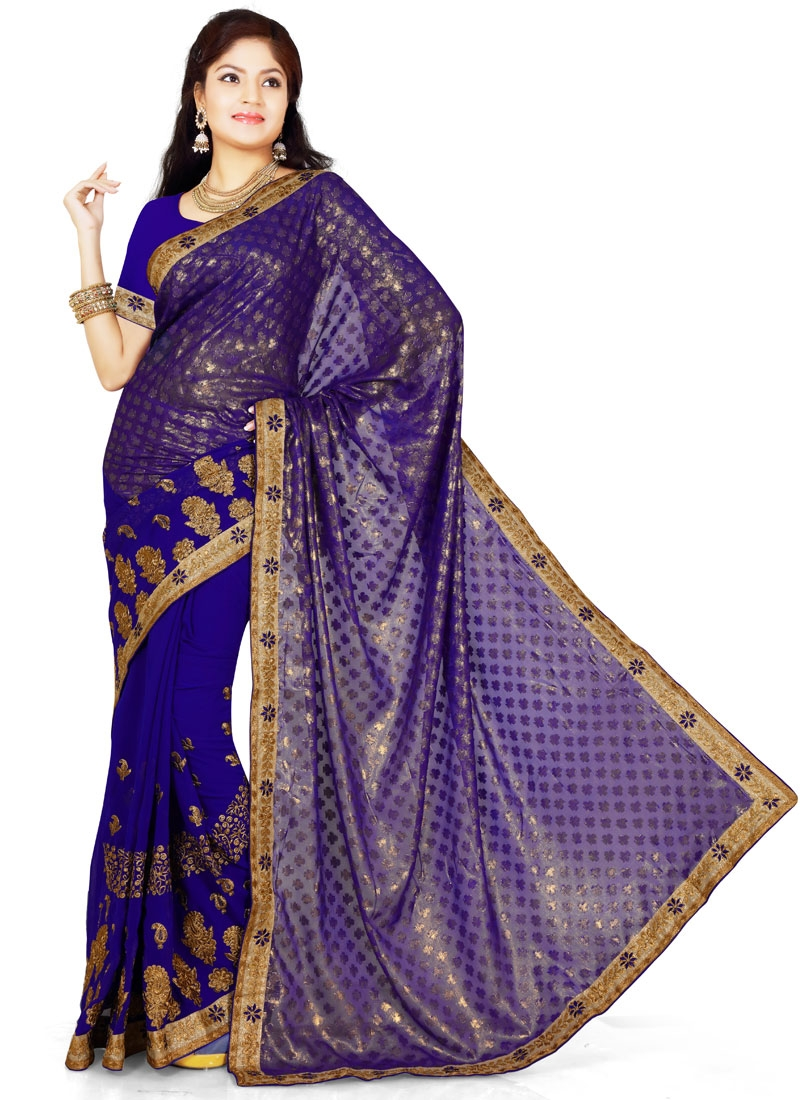 Renowned Navy Blue Color Party Wear Saree