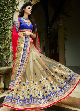 Renowned Patch Border Work Half N Half Bridal Saree
