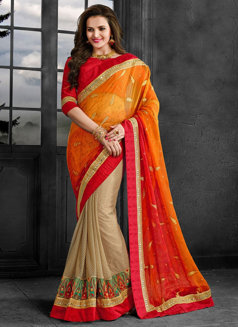 Renowned Patch Border Work Net Half N Half Wedding Saree