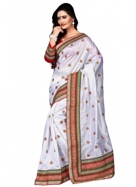 Renowned Patch Border Work Silk Designer Saree