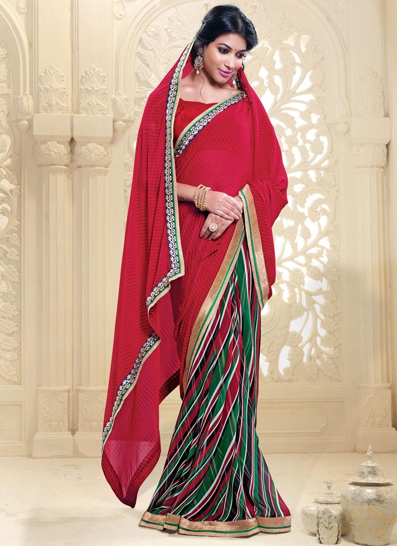 Renowned Red Color Printed Half N Half Casual Saree