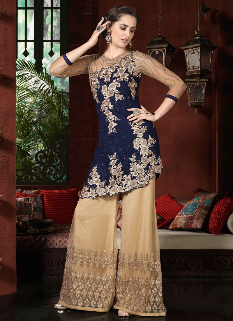 Renowned Resham And Beads Work Palazzo Style Designer Suit