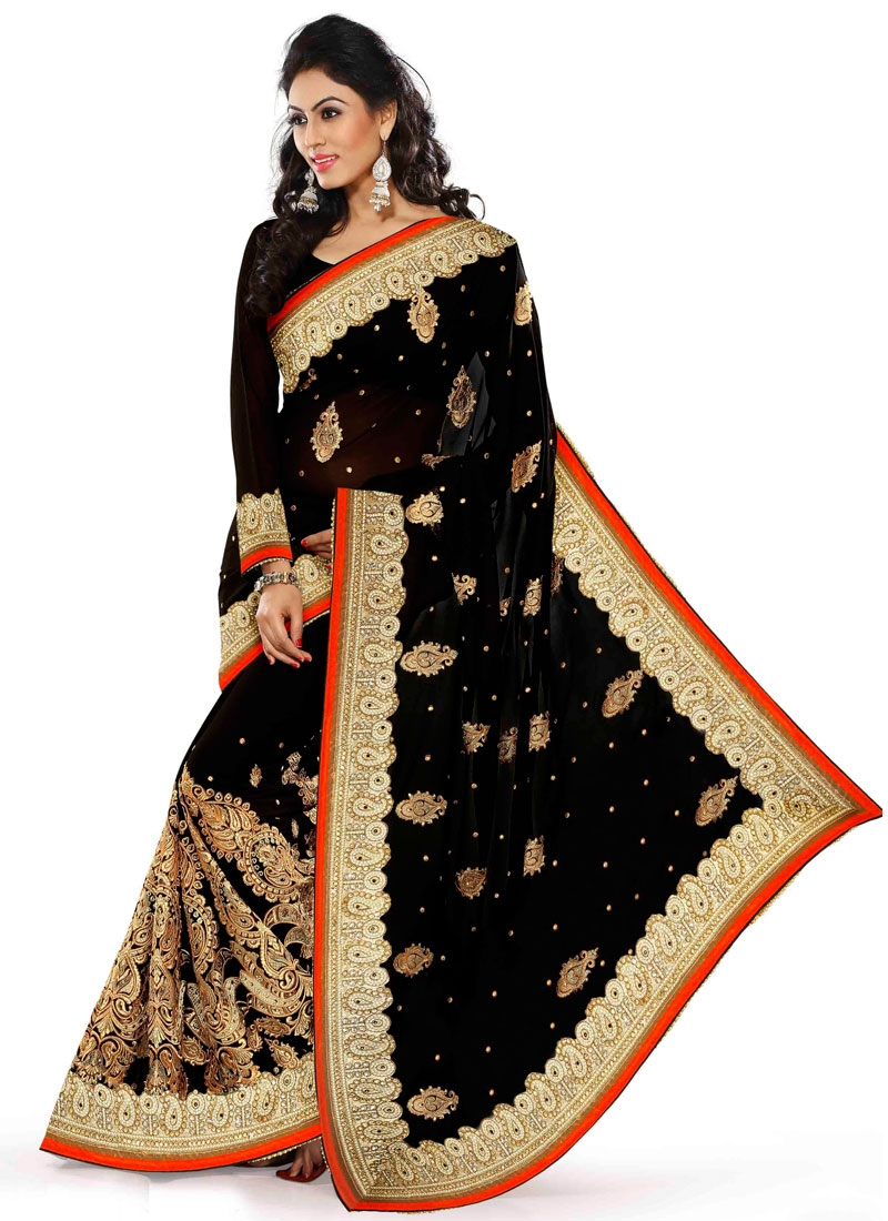 Renowned Resham And Stone Work Designer Saree