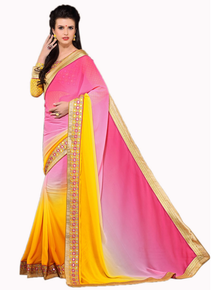 Renowned Rose Pink Color Resham Work Party Wear Saree