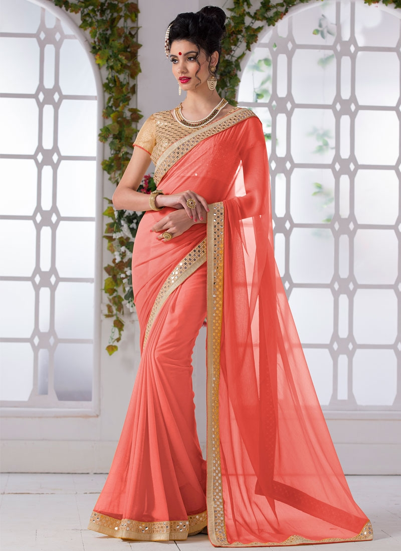Renowned Salmon Color Resham Work Casual Saree