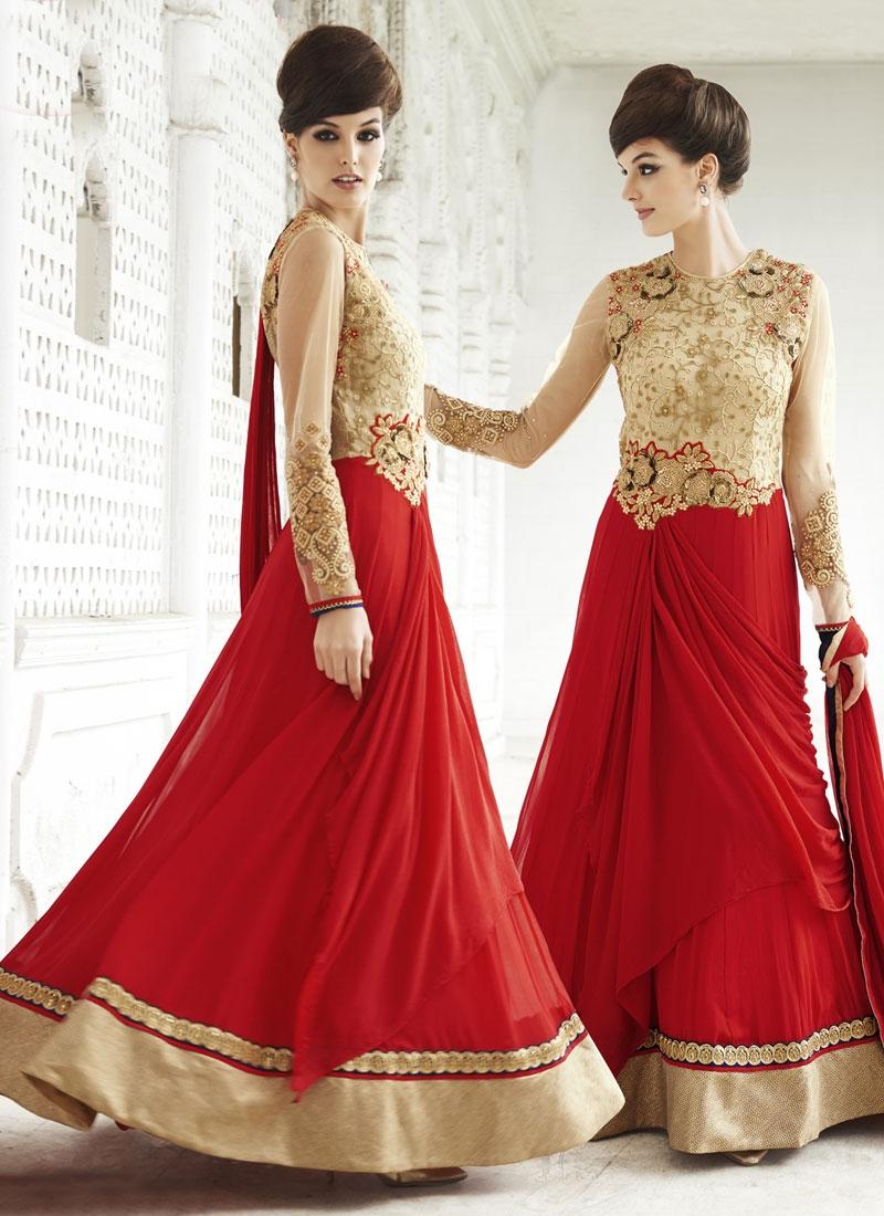 Renowned Sequins Work Red Color Floor Length Designer Salwar Suit