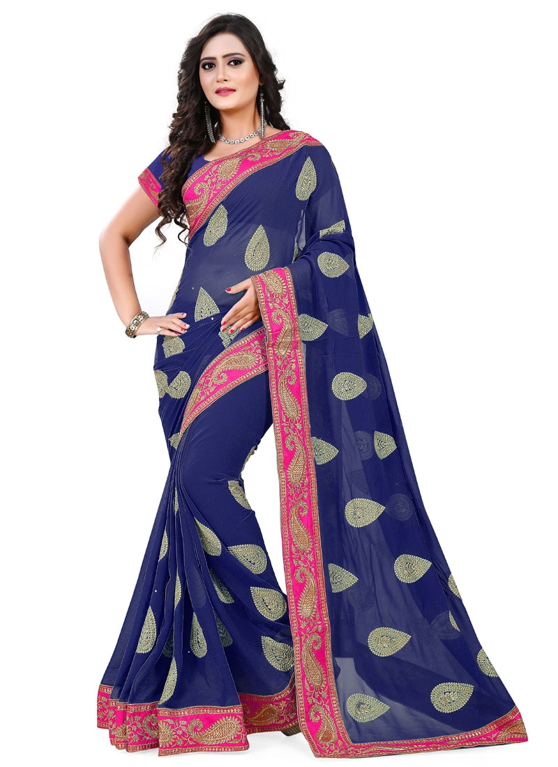 Renowned Stone And Lace Work Party Wear Saree
