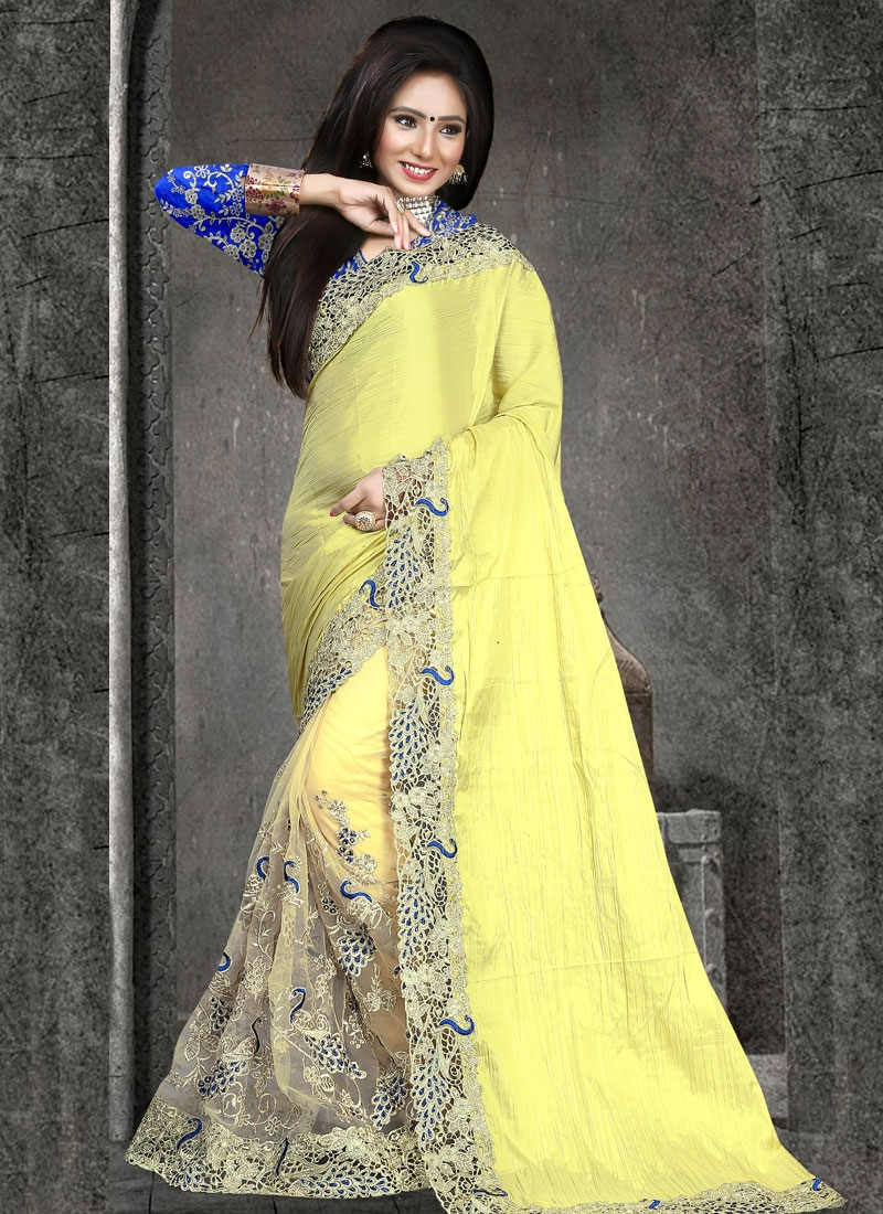 Renowned Stone Work Art Silk Half N Half Wedding Saree