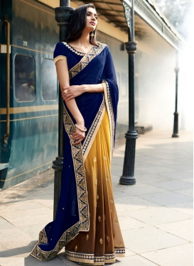Renowned Stone Work Brown Color Half N Half Party Wear Saree