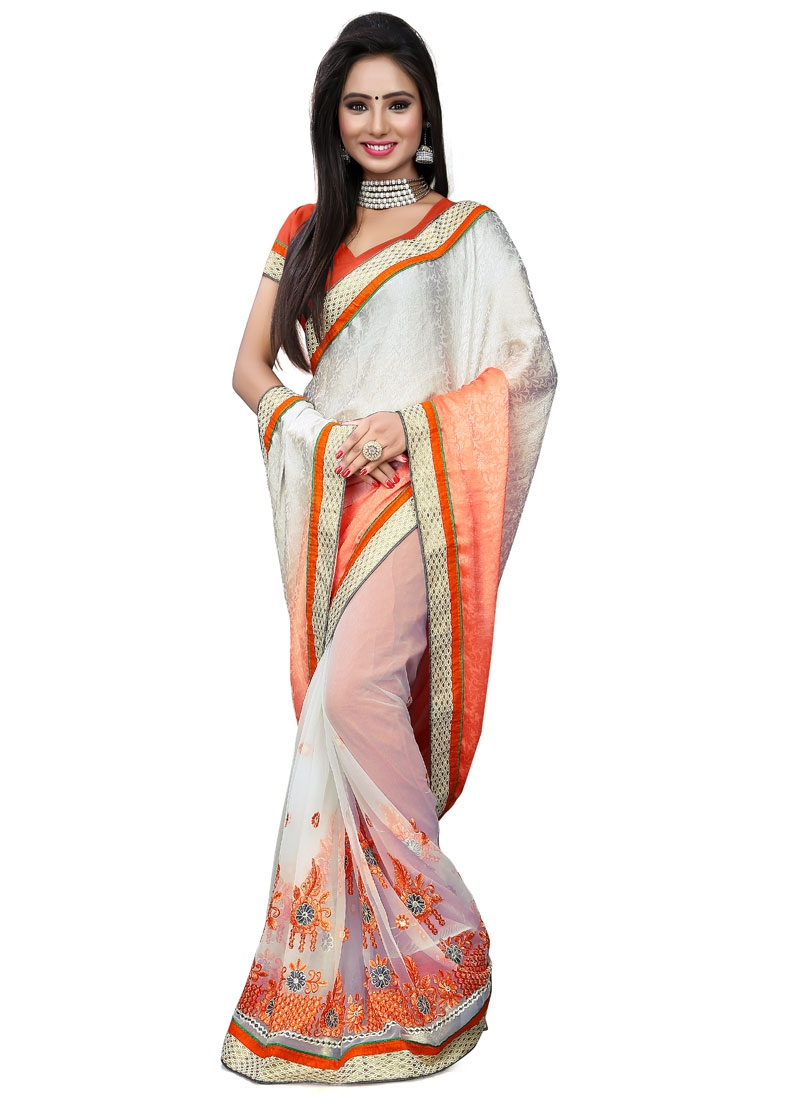 Renowned Stone Work Off White Color Half N Half Party Wear Saree