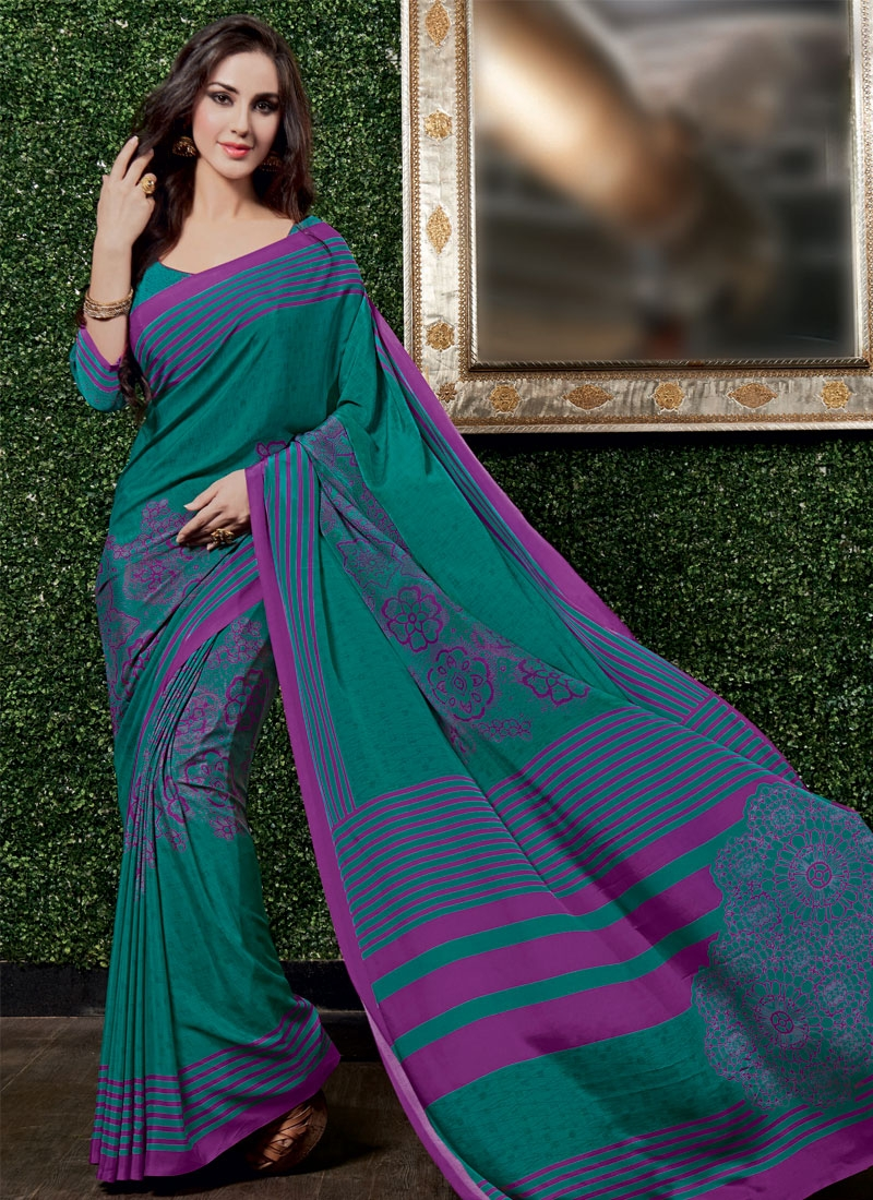 Renowned Teal Color Casual Saree