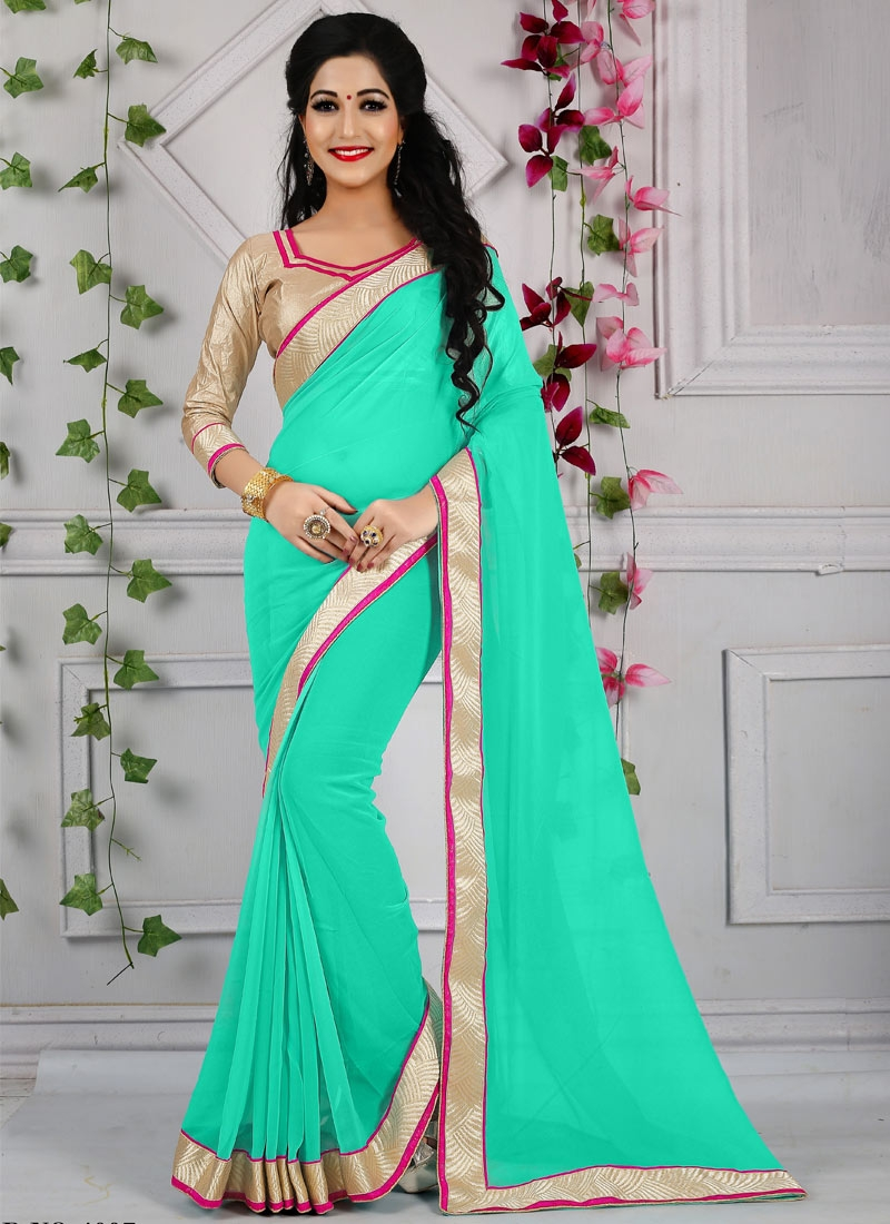 Renowned Turquoise Color Casual Saree