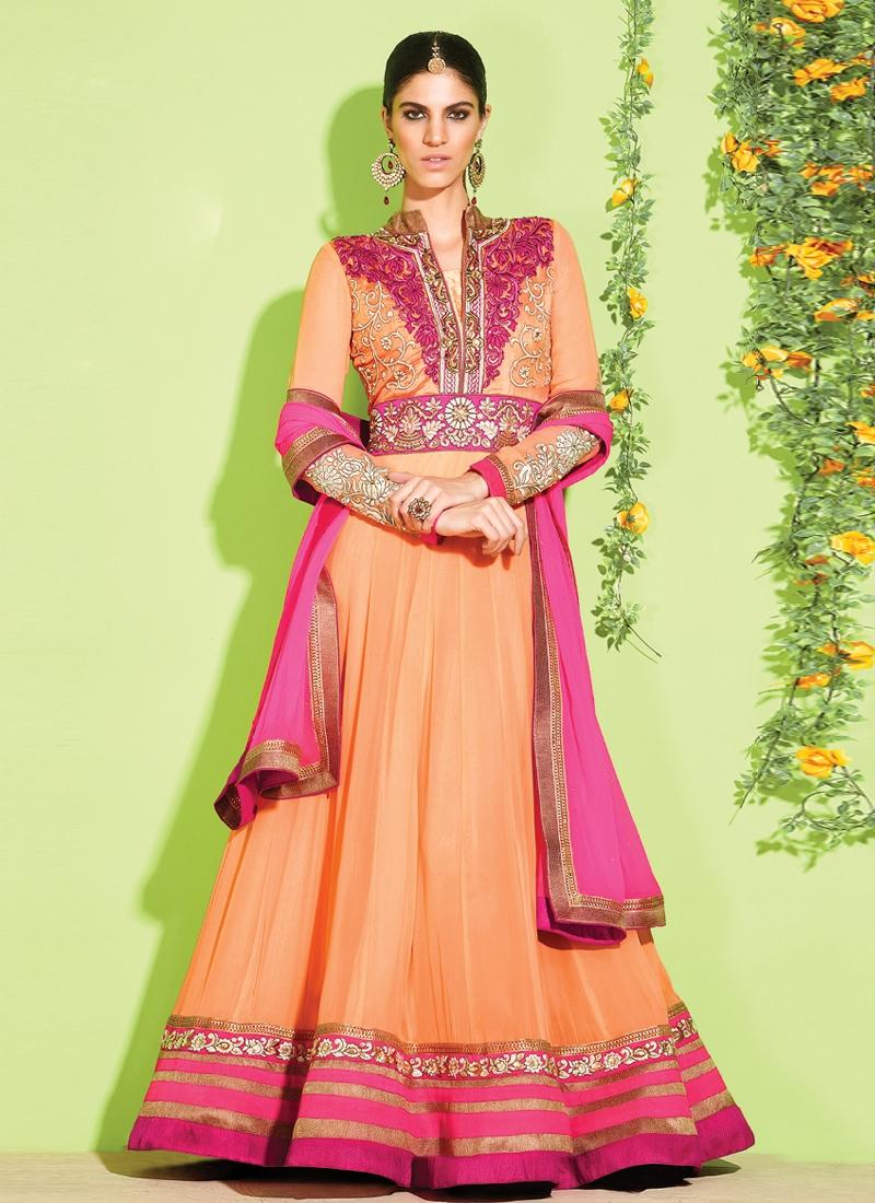 Resham And Lace Work Anarkali Salwar Kameez
